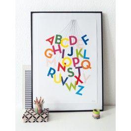 ABC-Poster DIN A2, gedruckt auf seidenmattem 250 g/m2 Papier. 42,0 x 59,4 cm. #ABC #abcposter, #alphabetposter #alphabet #abcplakat #kidsroom #school #kinderzimmer #print