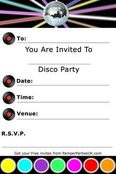 Image result for free disco party invitation template