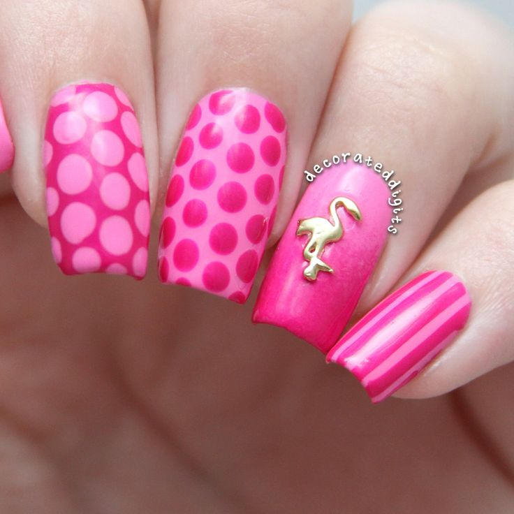 Pink flamingo nails by decorateddigits