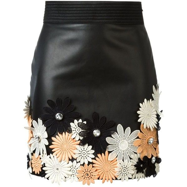 Emanuel Ungaro Flower Appliqué Mini Skirt (£1,110) ❤ liked on Polyvore featuring skirts, mini skirts, black, emanuel ungaro, black mini skirt, flower skirt, applique skirt and multicolor skirt