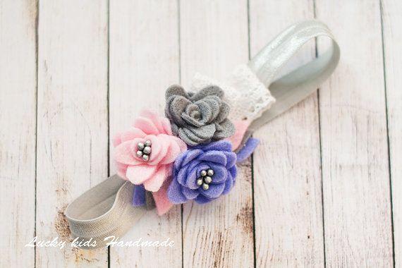 Feltro fiore fascia Rose feltro fascia di LuckyKidsHandmade