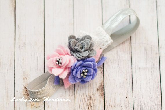 Felt Flower Headband Rose Felt Headband Baby  by LuckyKidsHandmade