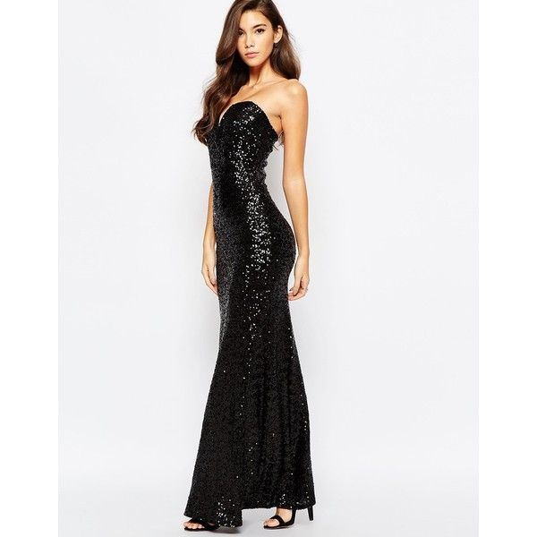 TFNC Showstopper Sequin Maxi Dress ($144) ❤ liked on Polyvore featuring dresses, black, tall maxi dresses, sequin maxi dress, bodycon cocktail dress, black body con dress and mesh maxi dress