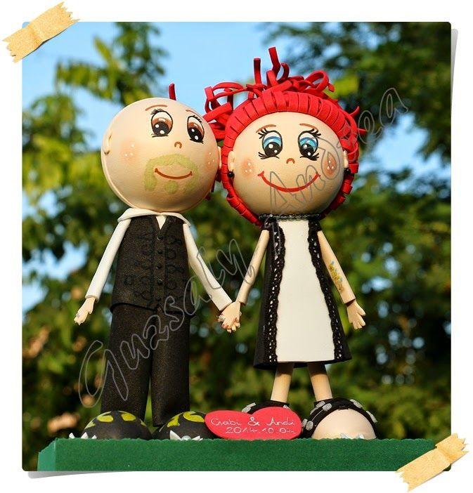 Esküvő / Wedding / Hochzeit / Dekorgumi baba / Craft foam doll / Moosgummi-Puppe