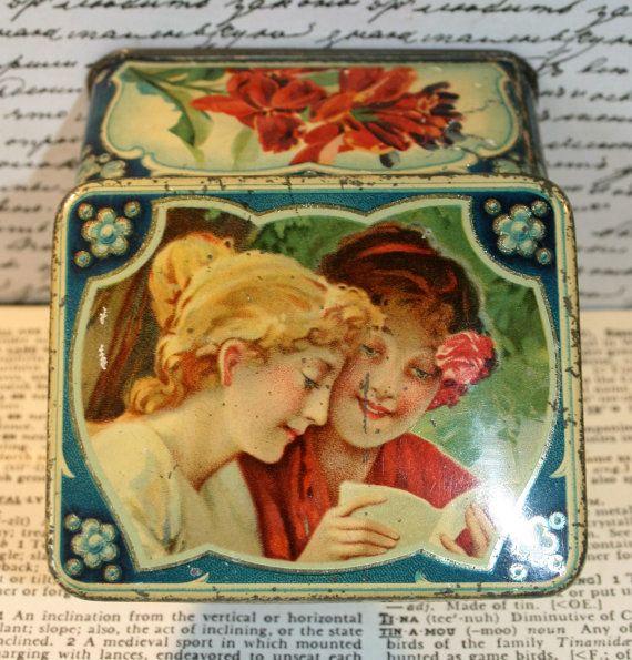 Prachtige Art Nouveau vintage trommeltje met mooie door Tinternet
