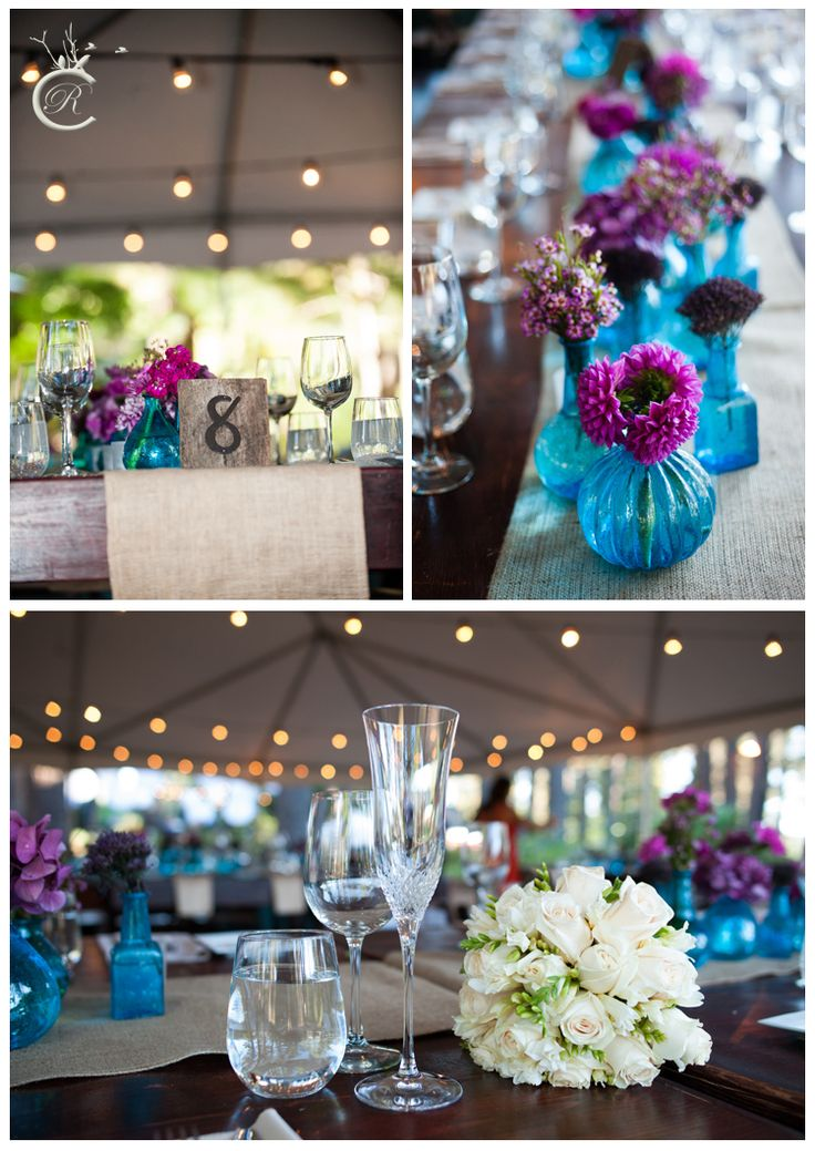 Purple and blue wedding theme at the Gatekeepers Museum in Lake Tahoe