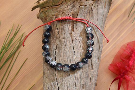 Black Crackle Beads Bracelet 8mm Gemstone Clear Bead Bracelet