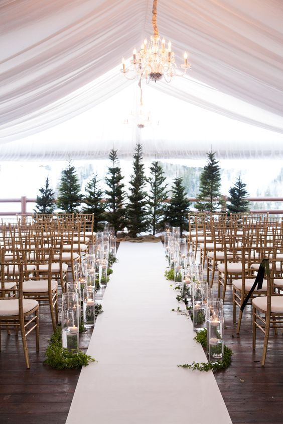 Fir Christmas Tree Wedding Altar – captured and shared by Melissa Kelsey Photography