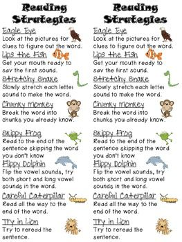 "Here's a great resource for your kiddos to use as they read.  Each reading strategy is paired with an animal to help students remember.    Eagle Eye Lips the Fish Stretchy Snake Chunky Monkey Skippy Frog Flippy Dolphin Careful Caterpillar Tryin Lion  You can also download my ""Reading Strategies"" posters as well."