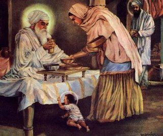 The third Guru-Guru Amardas had a daughter-Bibi Bhani. She was also wife of the fouth Guru-Guru Ramdas (background). Mother of the fifh Guru-Guru Arjan devji who is shown as a child in the photo. Grandmother of the sixth Guru-Guru Hargobind saheb ji.Great grandmother of ninth Guru-guru Tegbahadur saheb ji. Great great grandmother of the tenth Guru-Guru Gobind Singh Maharaj.
