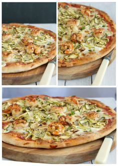 Chilli and garlic prawn pizza with zucchini and mozzarella soaked in cream | Drizzle and Dip