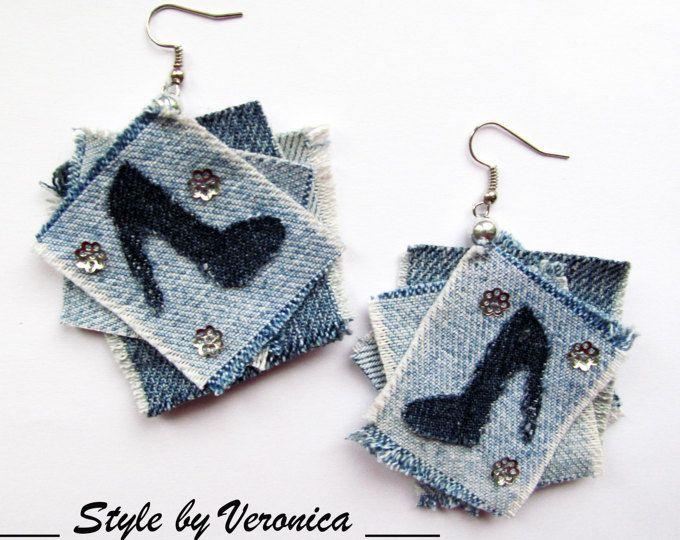 DENIM EARRINGS Retro denim earrings Vintage 1980/'s Fabric earrings Cowgirl Jeans pierced 80/'s fashion Square