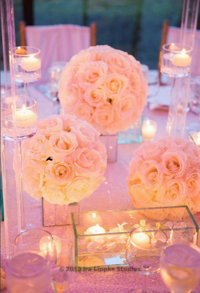 Candlelight and white roses on mirror vases ~ Ira Lippke Studio,Floral Design: Tantawan Bloom | bellethemagazine.com