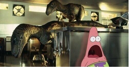 Patrick bob l'éponge surpris Dinosaure/Jurassic Parc