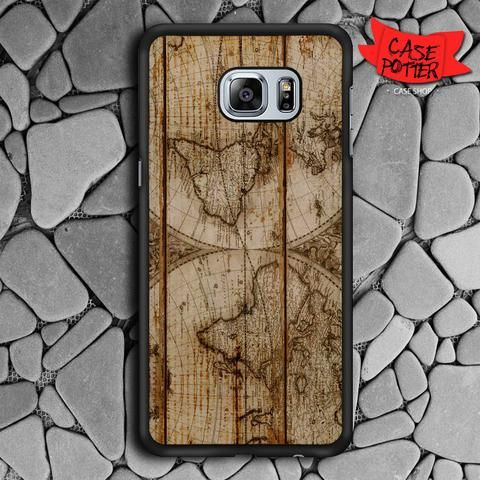 Old World Map Wood Samsung Galaxy S6 Edge Plus Black Case
