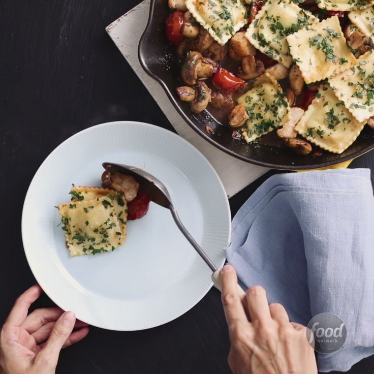 Recipe of the Day: Skillet Chicken and Ravioli Packaged ravioli is a tried-and-true standby when weeknights get rough. (We've all been there!) But when you want dinner to look and taste like you put some effort into it, toss ravioli in a skillet with chicken, fresh tomatoes and herbs. You'll have a complete, flavor-packed meal in 30 minutes and one skillet to clean up.