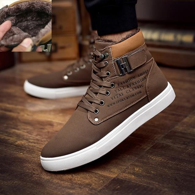 e716d5ef09 2018 Hot Men Boots Fashion Warm Winter Men shoes Autumn Leather Footwear  For Man New High Top Canvas Casual Shoes Men
