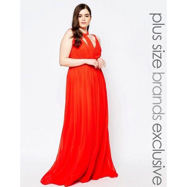 Forever Unique Plus Paneled Chiffon Maxi Dress ($300) ❤ liked on Polyvore featuring dresses, orange, plus size, plus size dresses, white maxi dress, orange dress, orange maxi dress and ruched maxi dress