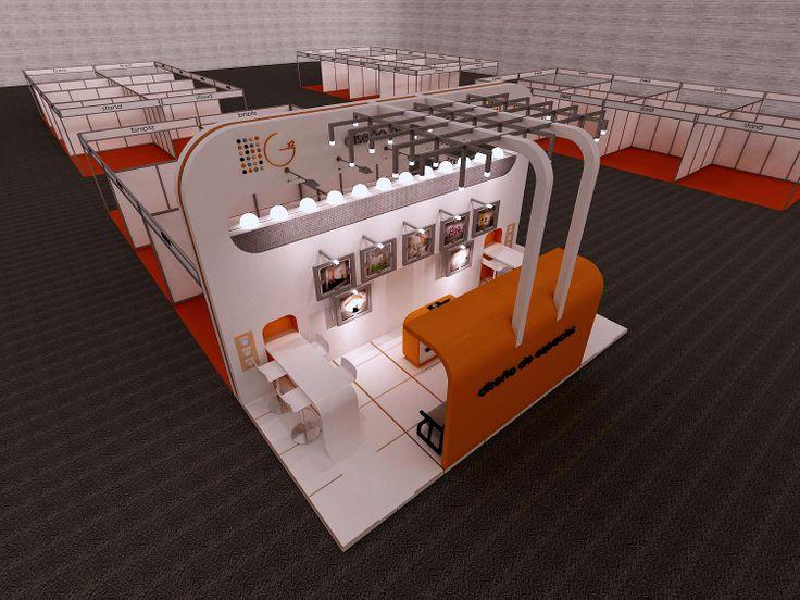 Stand abierto con zonas de almacén, de reunión y zona expositiva. Iluminación leds blancos.