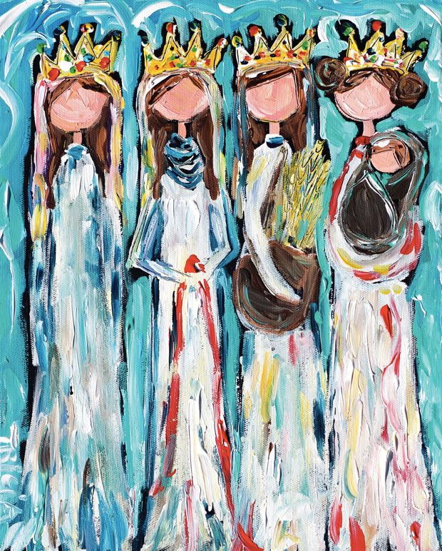 """The Four: An Advent Image """"These four women — Tamar, Rahab, Ruth, and Bathsheba — have something in common. They are all grandmothers in Jesus's family tree."""" Artist Tricia Nelson Robinson leads us into Advent through her depiction of these four women from Jesus's line of heritage.  The Well"""