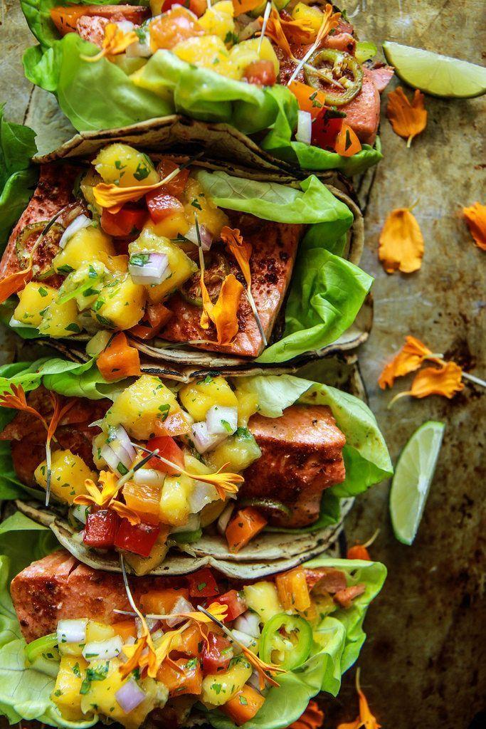 Chili Lime Salmon Tacos with Mango Salsa