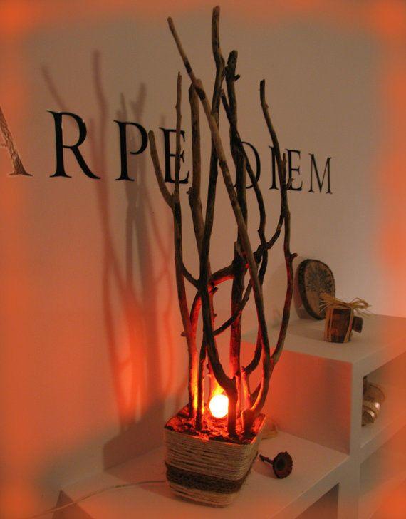 Romantische Skulptur Lampe aus Treibholz   Unikat   NEU