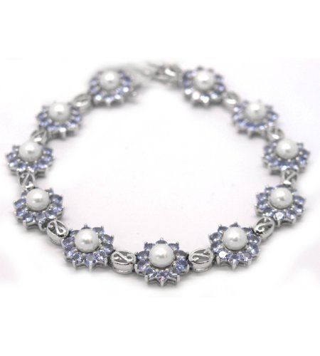 """De Buman Sterling Silver Freshwater Pearl and Tanzanite Bracelet 7.25"""" De Buman. $204.55. Crafted of sterling silver"""