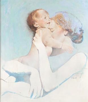 Robert Heindel / Madre e hijo, abrazo amoroso ¡