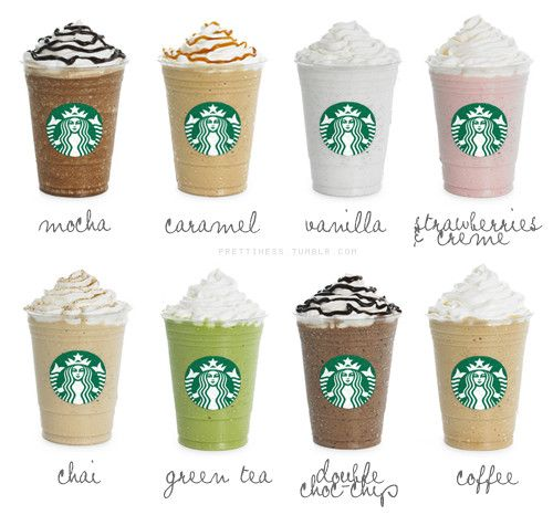 STARBUCKS : Frappuccino  I need to try all of them. They all sound sooooooooo GOOD