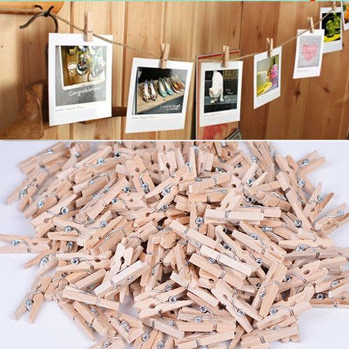 Natural mini Wooden Pegs Clothes Pins. Great for party, crafts, gifts or cards, wedding showers, baby showers, doll house displays.etc. Color: As the Picture shows. Product gallery. | eBay!
