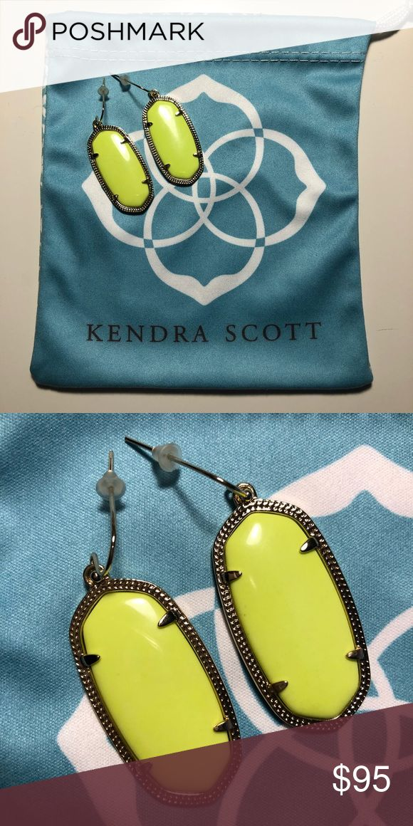 Kendra Scott Danielle Earrings Neon Yellow Discontinued color, neon yellow. Gold plated. Only worn a couple of times. Perfect condition. Dust bag included. If I can locate the box, I will include that as well. Kendra Scott Jewelry Earrings
