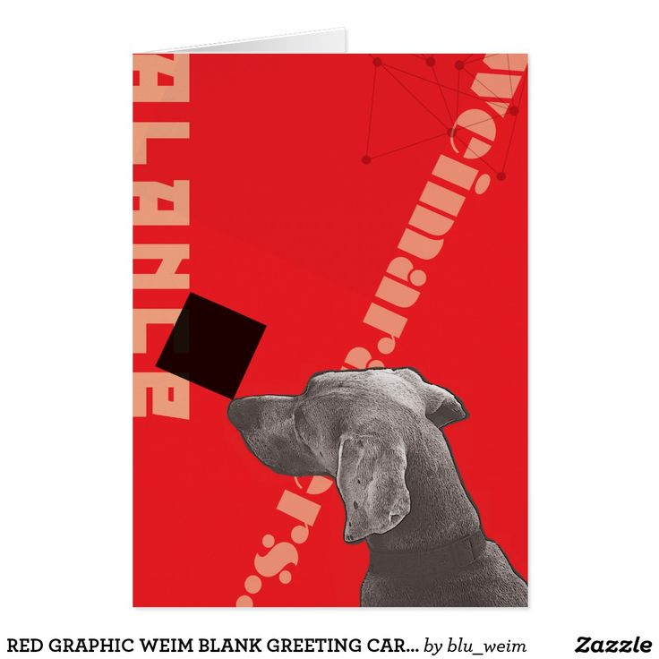 RED GRAPHIC WEIM BLANK GREETING CARD WITH ENVELOPE