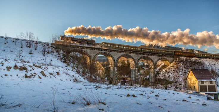 Viaduct Lautlingen Steamtrain by Joachim Lindenmann