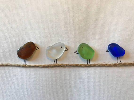 Uccelli di mare vetro  arte del vetro senza cornice 5 da 7