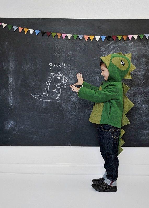 Kids Coat Cheeky Green Dinosaur by littlegoodall on Etsy, $155.00