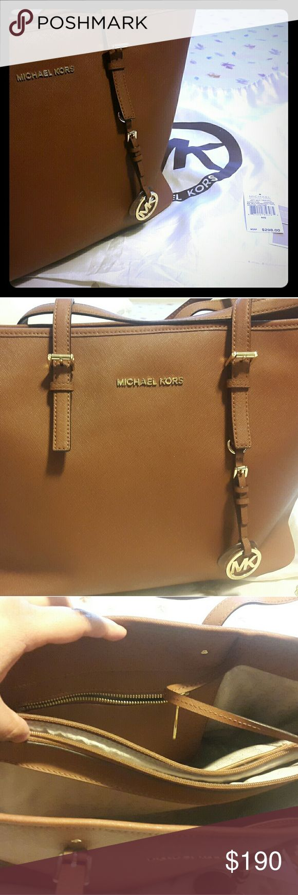 Michael Kors Jet Set Travel Large Chestnut Colored MK Jet Set Travel Purse comes with original dust bag. Purchased 1 year ago at 298$. Willing to bundle with Gucci Black Tote bag for 500$. I need the money to purchase a plane ticket to the Philippines. My dad died last week and I can't afford to buy ticket and send money for the funeral expense. Willing to negotiate. Thank you. Michael Kors Bags