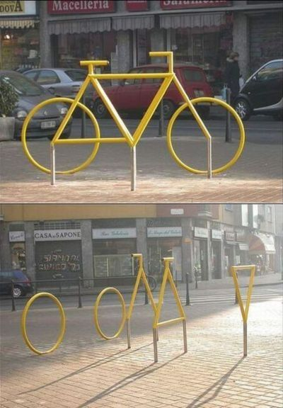 This sculpture yellow bike in Milan, it happens to be an optical illusion.