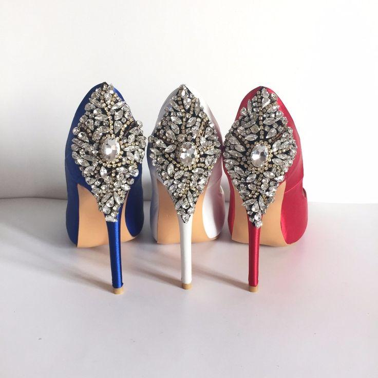 87.00$  Buy here - http://alifo7.worldwells.pw/go.php?t=32385617844 - Royal Blue Satin Open Toe Rhinestone Back Wedding Shoes Pumps Stilettos sapato para noiva Shoe Slip-on Sandal For Women Real