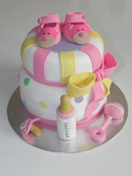 Caramel Ganache Baby Shower Cake