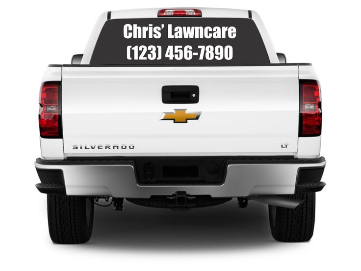 Add your business name phone number and website to your custom vinyl decal for your car or truck