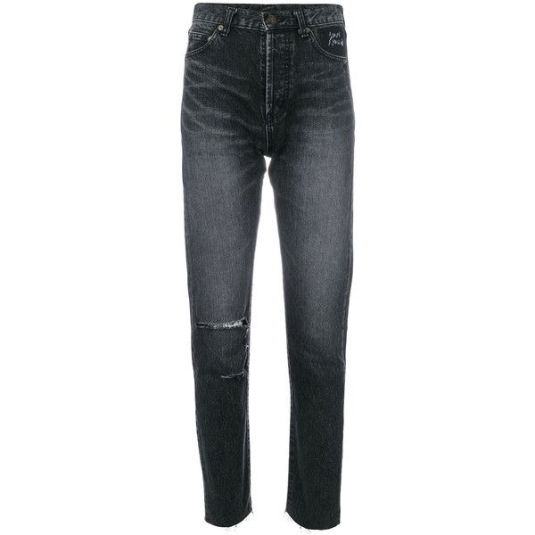 Saint Laurent light-wash skinny jeans ($890) ❤ liked on Polyvore featuring jeans, grey, grey skinny jeans, skinny fit jeans, acid wash skinny jeans, light wash skinny jeans and grey acid wash skinny jeans