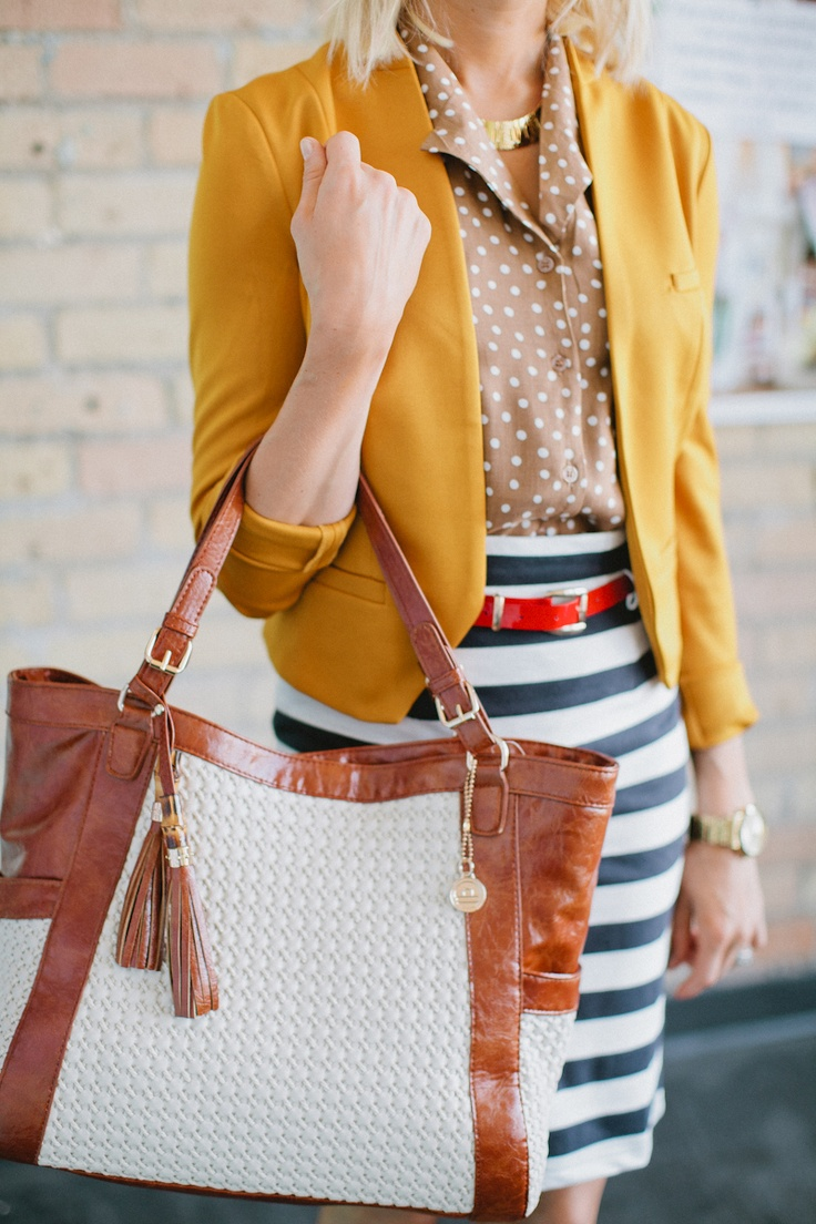 |: Pattern Mixing, Style, Color, Bag, Work Chic, Striped Skirts, Work Outfits, Striped Pencil Skirts