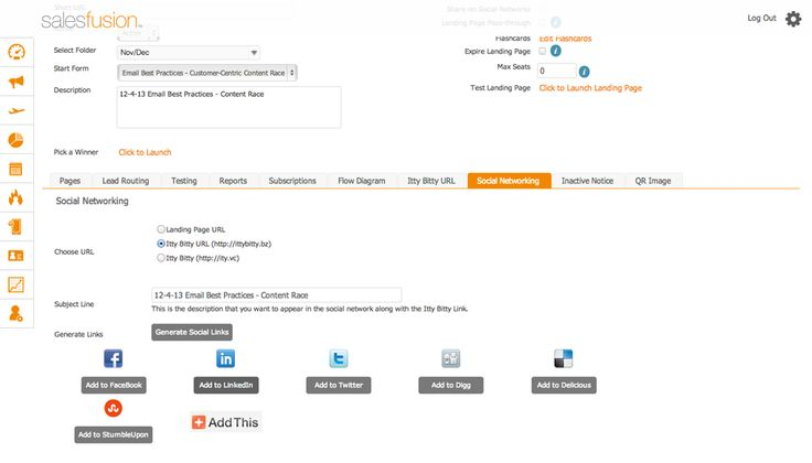 Salesfusion offers an elegantly simple, yet powerful #social publishing tool designed to get you publishing valuable content into popular social media networks. With IttyBitty from Salesfusion you can create, publish and track a variety of #content types into all social networks and track the #inbound traffic derived from your posts. #MarketingAutomation