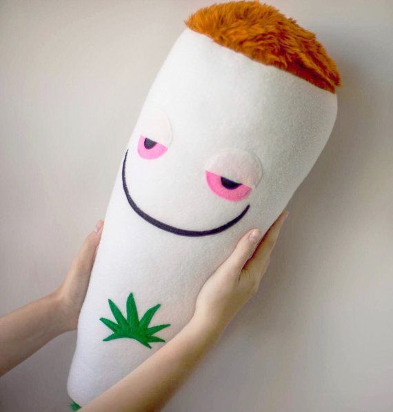 Medical marijuana cigarette pillow plush plushie cushion weed happy stoned spliff joint cig smoke cannabis grass