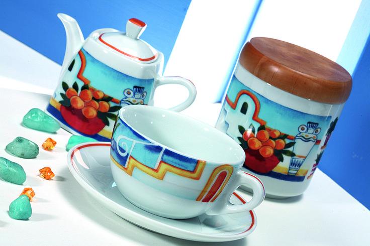 Decoro Egeo_ tazza da cappuccino, zuccheriera e teiera