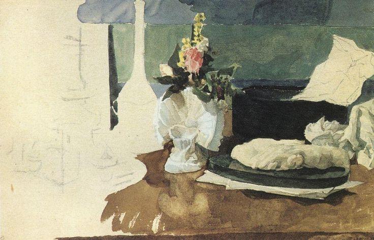 Натюрморт. Цветы, пресс-папье и другие предметы. 1885