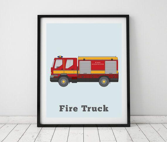 Transportation wall art Boys Room Fire by LittleGrippersStore