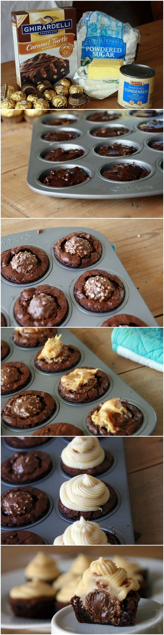 Ferrero Rocher Brownie Bites with Caramel-Cream Cheese Icing Recipe