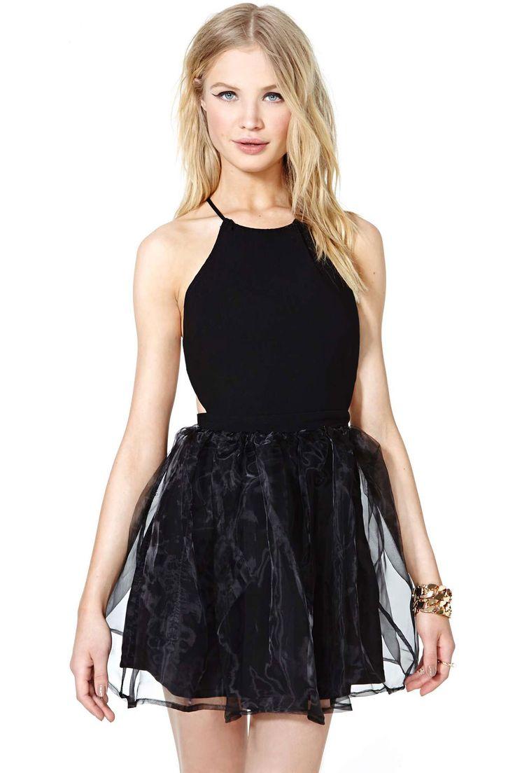 Cross Open Back Little Black Skater Dress