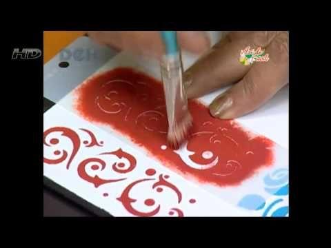 Como pintar con acrílicos y stencils - Bandeja reversible - YouTube